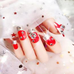 $enCountryForm.capitalKeyWord Australia - Bride Shining Rhinestone Fake Nail Tips Red Color 3D Glitter False Nails Wedding Party Nails Fashion Decoration With Glue