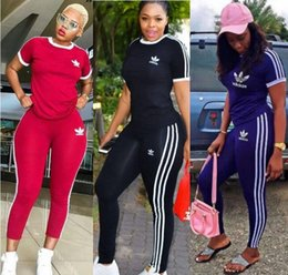 Wholesale gym two piece set resale online – Women designer two piece set tracksuit brand gym summer clothing t shirt pants sportswear pullover leggings outfits tee top bodysuits