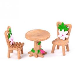 Garden Tables Chairs UK - 3Pcs Set Floral Table Chairs Miniature Landscape Fairy Garden Dollhouse Decoration Moss Micro Landscape Succulent Plant Ornament