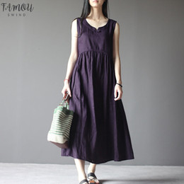 Loose Long Linen dress online shopping - Vintage Women Summer O Neck Sleeveless Loose Cotton Linen Casual Solid Baggy Beach Long Vestido Plus Size Designer Clothes