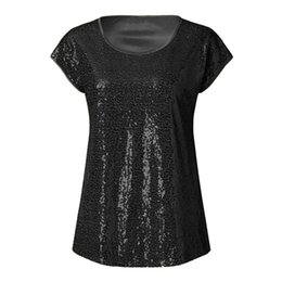 Sequined Shirts UK - New Women Girls Clothes Summer Girls Casual Sequined Short Sleeve Pullover T Shirt Tops T Shirt Fashion Classic Tee Tops #4R02