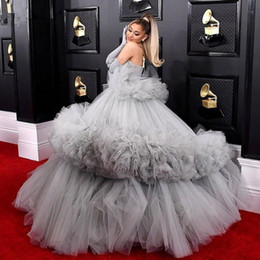 sexy plus size tutus Australia - Puffy Silver Ball Gown Prom Dresses Strapless Tiered Tulle Tutu Skirts Plus Size Evening Dress Without Gloves Red Carpet Dress Vestidos