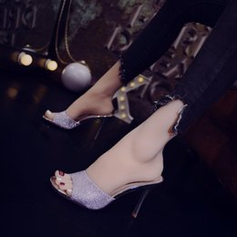 $enCountryForm.capitalKeyWord Australia - Current2019 Ma'am Shoe Fitting Slipper Joker One Word High-heeled Shoes Woman Square Fine With Other Clothes