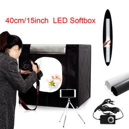Venta al por mayor de Freeshipping 40 cm * 40 cm portátil LED estudio fotográfico Juego de carpa ligera + 2 fondos + regulador de luz kit de tienda de fotografía mini caja caja de fotos