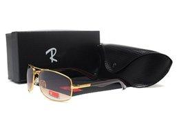 Leather Belt Metal UK - Men high-grade leather belt custom UV 380 sunglasses for men Designer sunglasses Vintage metal Sport Sun glasses With box