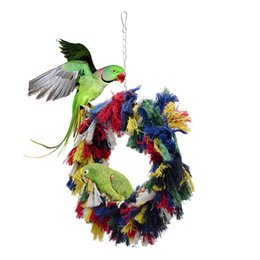 China Tuba Cotton Rope Rings Bird Gnawing Toys Parrot Swing Toys Bird Toys Cotton Rope Swing Cotton Circle suppliers