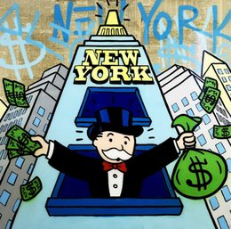York Canvas Prints Australia - Alec Monopoly Art New York Tycoon,Oil Painting Reproduction High Quality Giclee Print on Canvas Modern Home Art Decor