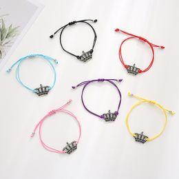 $enCountryForm.capitalKeyWord Australia - Sirodi Fashion Jewelry Vintage Crown Charm Bracelet Adjustable Infinity Make A Wish Bracelets For Women Men With Card Wholesale