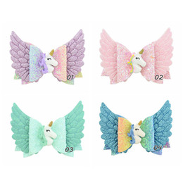 $enCountryForm.capitalKeyWord UK - Unicorn hair bows girls hair clips angel's wings kids barrettes glisten princess baby BB clips designer hair accessories for girls A5910