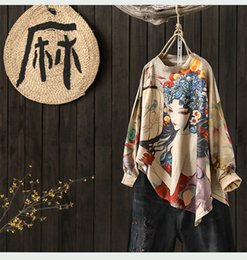 women chinese sweaters NZ - Printing Dyeing Loose Round Neck Women Sweater 2018 Autumn Winter Female Art Literary Vintage Wool Knitted Lady Tops Personality Y190823