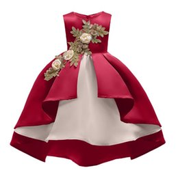 53f7805f117 Tail Wedding Gown Dresses for Kids Mesh Flower Irregular Hem Princess Party  Pageant Christmas Costume Baby Girls Clothes. Free shipping