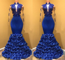 flowers blue Australia - High Neck Royal Blue Mermaid Prom Dresses With Seer Long Sleeves Appliques Rose Flowers Formal Evening Party Gowns