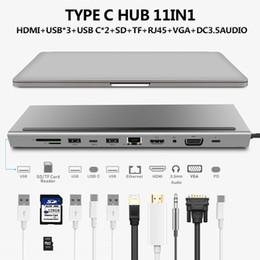 USB HUB C 11 en 1 Tipo C a HDMI VGA RJ45 múltiples puertos USB 3.0 Tipo-C Aguja para el adaptador de energía HUB Macbook Xiaomi Huawei libro portátil USB-C en venta