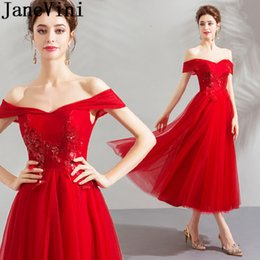 $enCountryForm.capitalKeyWord Australia - JaneVini Tea-Length Red Evening Party Dresses Formal Sequins Beaded Prom Gowns Lace Tulle Plus ize Long Gala Dress Evening Gowns 2019