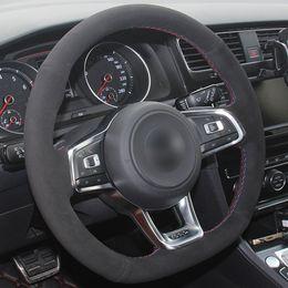 $enCountryForm.capitalKeyWord Australia - DIY Hand sewing Black Suede Car Steering Wheel Cover for Volkswagen Golf 7 GTI Golf R MK7 VW Polo GTI Scirocco 2015 2016