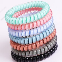 $enCountryForm.capitalKeyWord NZ - Wholesale-Women 4cm Telephone Wire Cord Hair Tie Girls Elastic Hair Rubber Band Ring Rope Candy Color Bracelet Hair Accessories