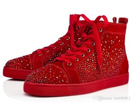 different shoes UK - New Style Luxury Couple Strass Trainers Veau Velours High Top Sneakers Red Bottom Shoes Men's Spiked + Different Strass Rhinestones