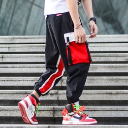 jeans cargo Australia - Fashion Streetwear Men Jeans Loose Fit Stripe Spliced Designer Big Pocket Cargo Pants Men Slack Bottom Hip Hop Joggers Pants