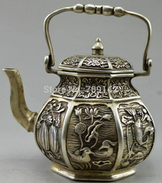 $enCountryForm.capitalKeyWord UK - Decoration Decor Collectibles Handwork Tibet Silver Carved Fish Fruit Flower Teapot statue Tibet Miao Antique Old Silver