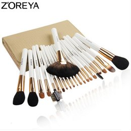 professional cosmetic bags Australia - ZOREYA Sable Hair Makeup Brush Set With Cosmetic Bag 22pcs Professional Make Up Brushes Fan Powder Eyeshadow Makeup BrushesMX190918