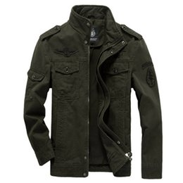 Wholesale mens fitted military jackets for sale - Group buy Mens European Style Military Uniform Coat Embroidery Multi pocket Autumn Winter Jackets Cotton Soft Fit Outdoor Jacket