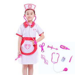 $enCountryForm.capitalKeyWord Australia - Halloween Cosplay Kid Clothes Girl Nurse Uniform Matching Hat Toys 7-piece Set 4T-8T Carnival Role Play Girl Prom Gown Costume