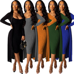 Wholesale clubbing outfits resale online - Women piece set sexy club Cardigan Dress outfits Cashmere silver fox Midi dress long skirt outwear bodysuits fall winter clothing