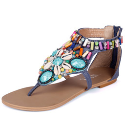 aa2934ac58406f 2019 Ethnic Style Female Sandals Summer Bohemian Rhinestone Shoes Beaded Flat  Sandals Gladiator Ladies Women