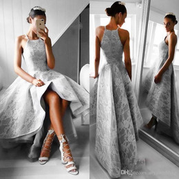 Lace evening dresses fast deLivery online shopping - Grey Lace High Low Prom Dresses A Line Spaghetti Straps Formal Dresses Evening Wear Zipper Back Fast Delivery Cheap Party Dress Vestidos