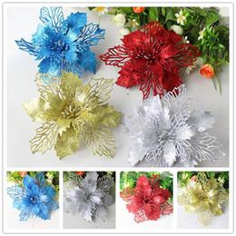 Flower Christmas Ornament Australia - 10pcs pack Hot Glitter Artificial Flowers Christmas Tree Ornaments Decorations Christmas Decorations For Home Gifts