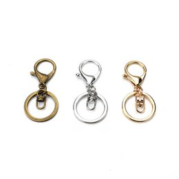$enCountryForm.capitalKeyWord UK - 5pc Gold Bronze Silver Alloy Metal Lobster Clasp DIY Keychain Split Key Ring Keychains Making Charms Accessories