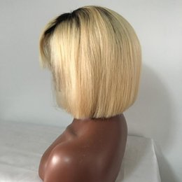 Two Toned Bob Hairstyle Wigs Australia - Ombre short hair wigs two tone 1b 613 straight short Malaysian human hair lace front wig bob full lace wigs