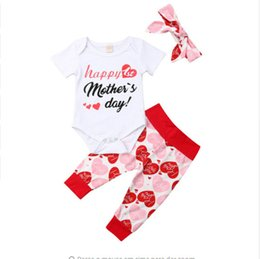 c49012547 Baby girls Happy mother's day outfits 2019 summer letter tops+Heart print  pants with headband 3pcs set fashion kids Clothing Sets C6240