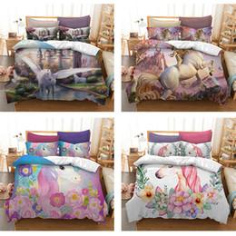 super single beds 2019 - 3D printed floral wreath Unicorn Bedding Sets Duvet Cover Cartoon Bedclothes quilt Cover Pillowcase single double queen