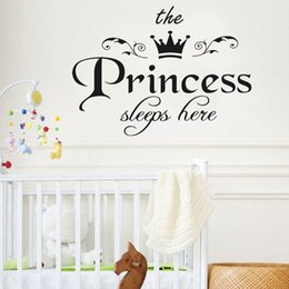 Sleep Wall Decal Sticker Australia - The Princess Sleep Here Decals Art Lettering Wall Stickers For Kids Bedroom Living Rooms Wallpaper Removable Diy Home Decor