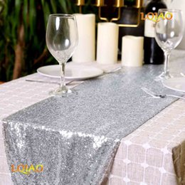 "valentines table decorations Australia - 3pcs lot Sequin Table Runner 14"" x 108"" Sequin Tablecloth SilverTable Cloths Valentines Day Table Linens Party Decoration"