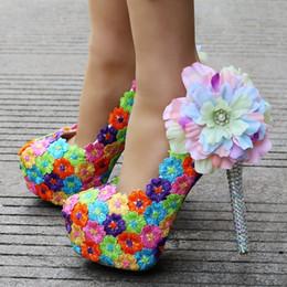 $enCountryForm.capitalKeyWord Australia - Crystal Queen Handmade Women Wedding Shoes Round Colorful Lace Flowers High Heel Elegant Bridal Dress Shoes Prom Pumps
