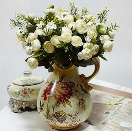 White Tea Roses Australia - 13Heads Silk Artificial Peony fake Flowers small Rose Tea Buds fleur artificielles for Home wedding decoration Flower GB337
