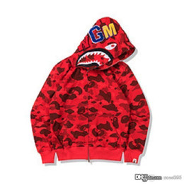 zipper teeth NZ - 19FW Japanese fashion brand camouflage terry cloth cardigan zipper animal head tooth print hoodie sweater wholesale