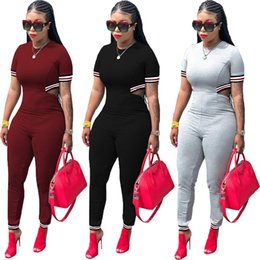 Back Out Jumpsuit Rompers Australia - Summer women Striped Overalls O-Neck Ribbon Short Sleeve Jumpsuits playsuits casual sexy fashion Bandage rompers Back Hollow out Outfit