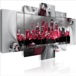 $enCountryForm.capitalKeyWord Australia - ( No Frame)5PCS Set Abstract Night View of Modern Architecture Dream About Sydney Art Print Frameless Canvas Painting Wall Picture Home Deco