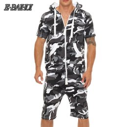 Camouflage Jumpsuits Australia - E-BAIHUI Summer Men Jumpsuit Patchwork Camouflage Tracksuit Casual Zipper Short Sleeve Hooded with Pockets Short Overalls F815