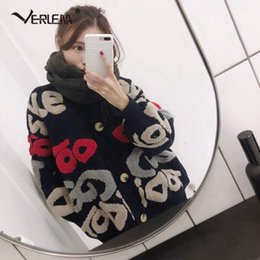 China Long Batwing Sleeve V-Neck Jacquard Letters Pattern Cardigan VERLENA 2018 Fall Korean Fashion Streetwear Sweater Hip Pop Coat supplier batwing cardigan knit pattern suppliers