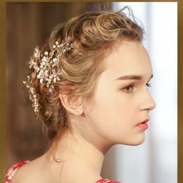 Red Hair Clips Wedding Australia - Fashion Pearl Flower Hairpin Luxury Golden Charm Hair Clips Beautiful Bride Headdress Four-piece Wedding Dress Hair Accessories