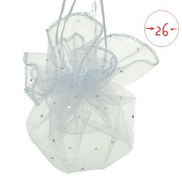 China 100pcs diameter 26 35 40cm White Round Organza Bags Drawstring jewelry packaging bags for Wedding gift fcandy Christmas Yarn bag suppliers