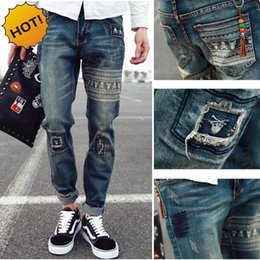 23 Patch Australia - Hot Style 2019 skull Printed Patch Retro Hip Hop Stretch Jeans Men Hole Ripped Harem Pants Teenagers Casual Denim Bottoms