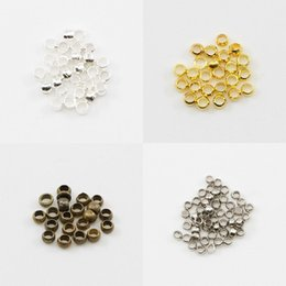 beads stoppers 2019 - 500pcs lot Gold Silver Bronze Copper Ball Crimp End Beads Dia 2 2.5 3 mm Stopper Spacer Beads For Diy Jewelry Making Fin