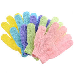 NyloN exfoliatiNg towel online shopping - new Bath Glove Nylon Massage Exfoliating bath gloves No rub towel Rich bubble mixed color