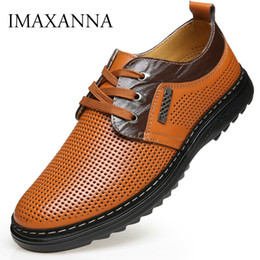 Discount size 44 sandals - IMAXANNA Summer Men Genuine Leather Shoes Man Leather Hole Sandals Breathable Business Office Dress Shoes Black Brown Si