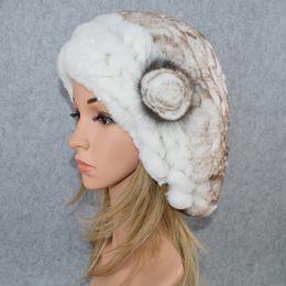 $enCountryForm.capitalKeyWord Australia - Casual Women Real 100% Natural Rex Rabbit Fur Beret Hats Winter Warm Rex Rabbit Fur Caps Lady Knitted Elastic Floral Beanies Cap